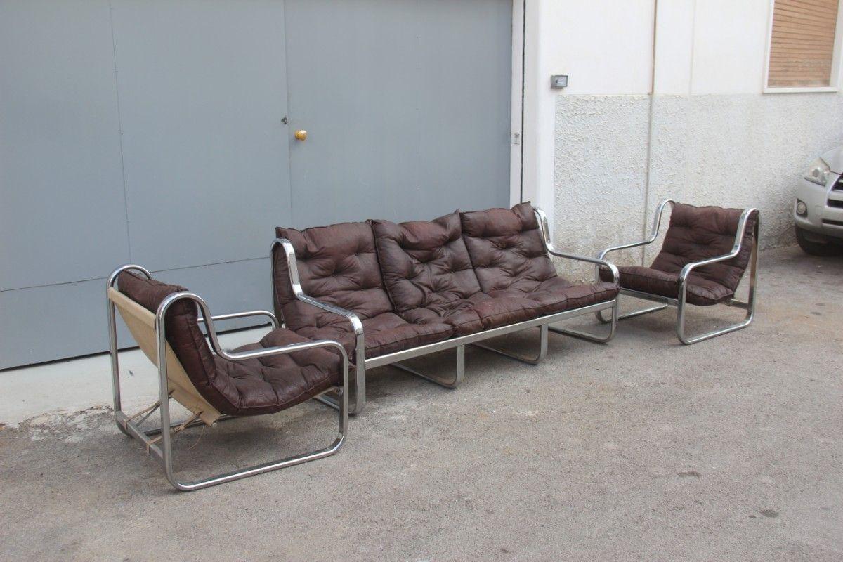 Wohnzimmer set aus leder verchromten metall 1970er bei for Wohnzimmer set