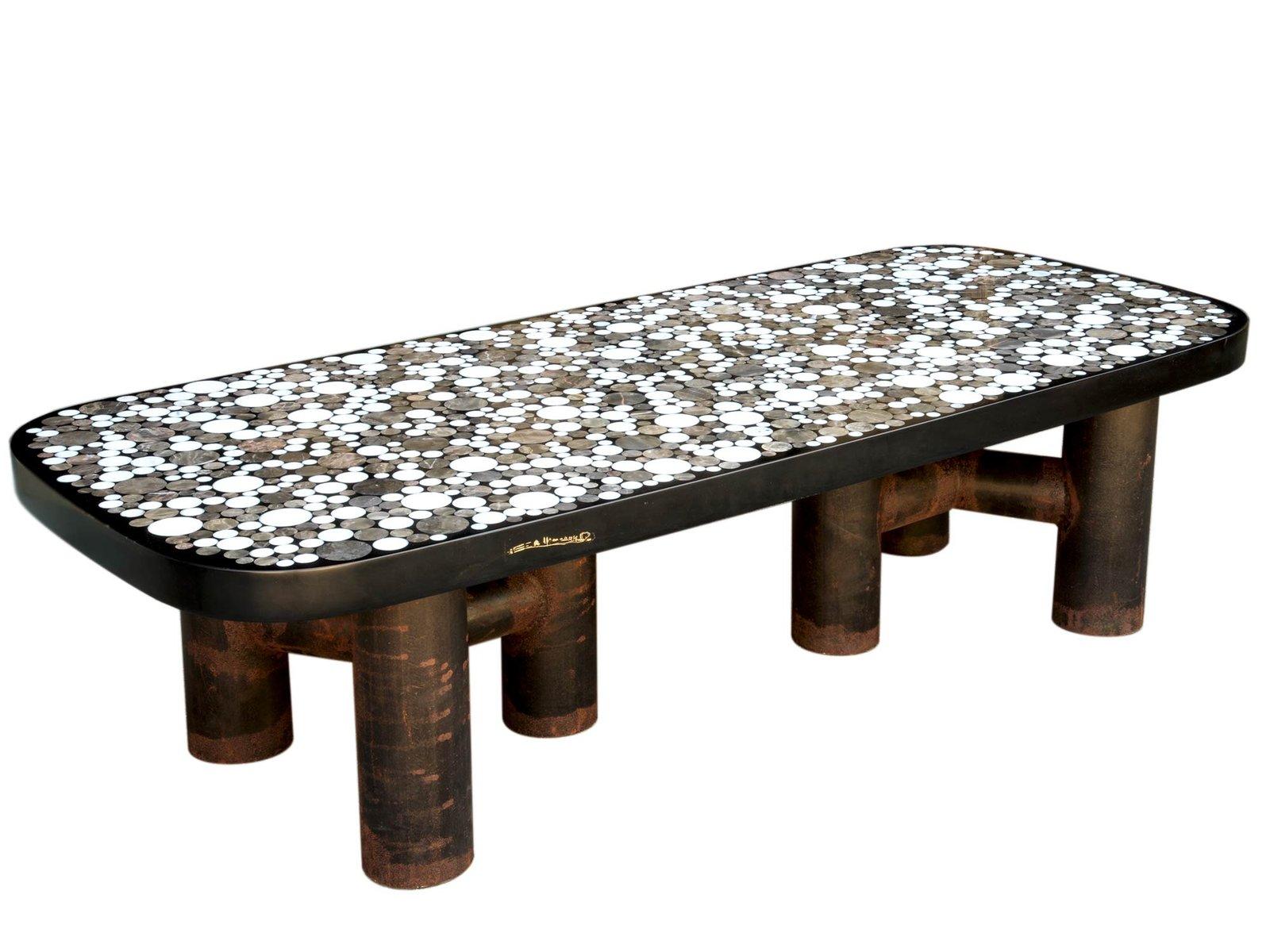 couchtisch mit marmor intarsie von etienne allemeersch. Black Bedroom Furniture Sets. Home Design Ideas