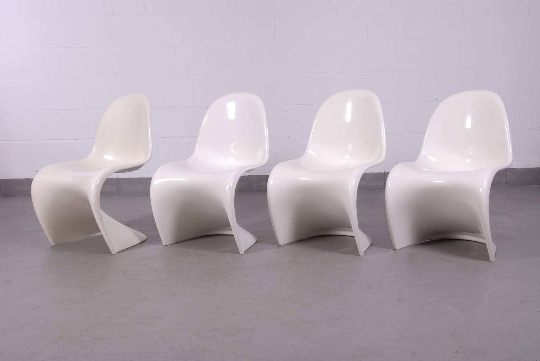 f White Panton Chairs by Verner Panton for Fehlbaum 1960s Set