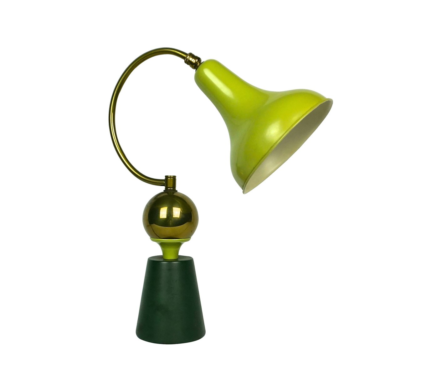 french apple green table lamp 1950s