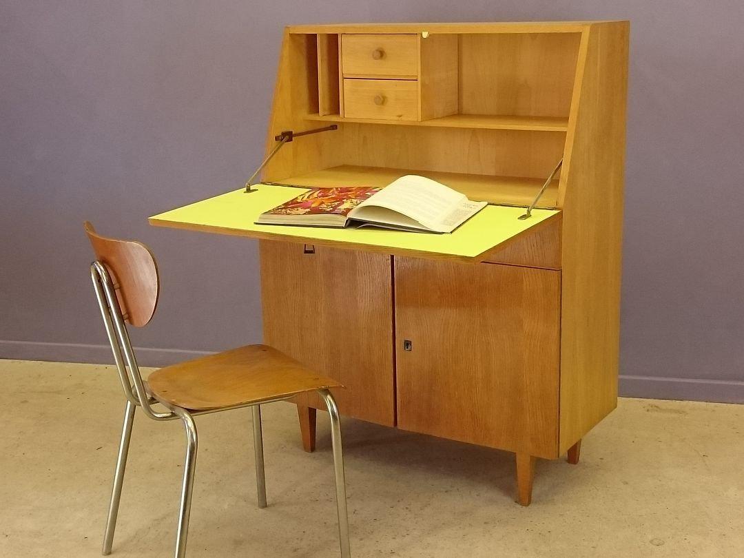 vintage b ro schreibtisch aus heller eiche 1950er bei pamono kaufen. Black Bedroom Furniture Sets. Home Design Ideas