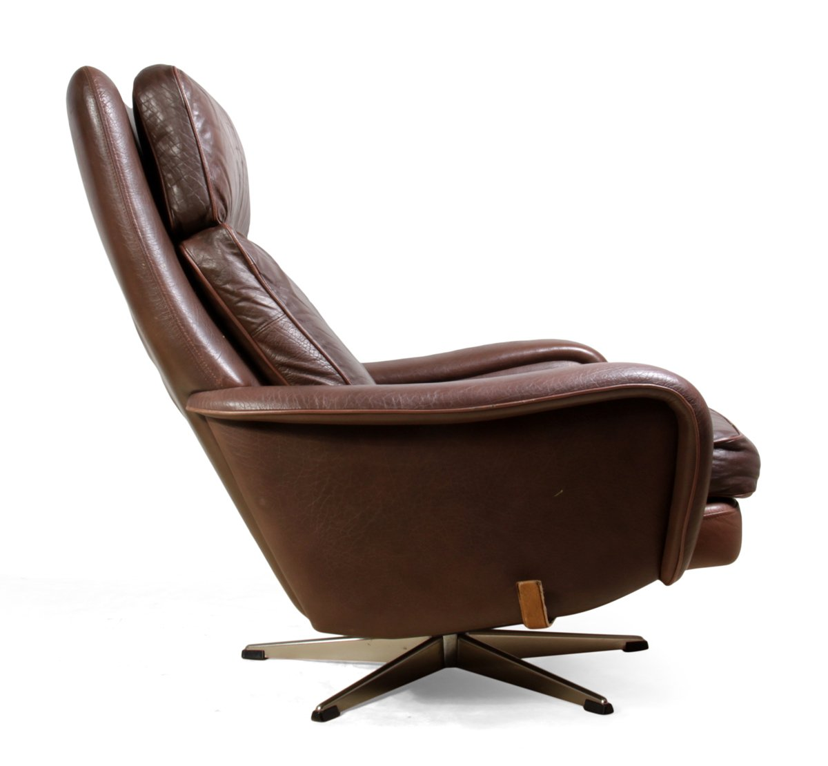 Man Cave Recliner Chairs : Danish leather reclining swivel man cave chair s for