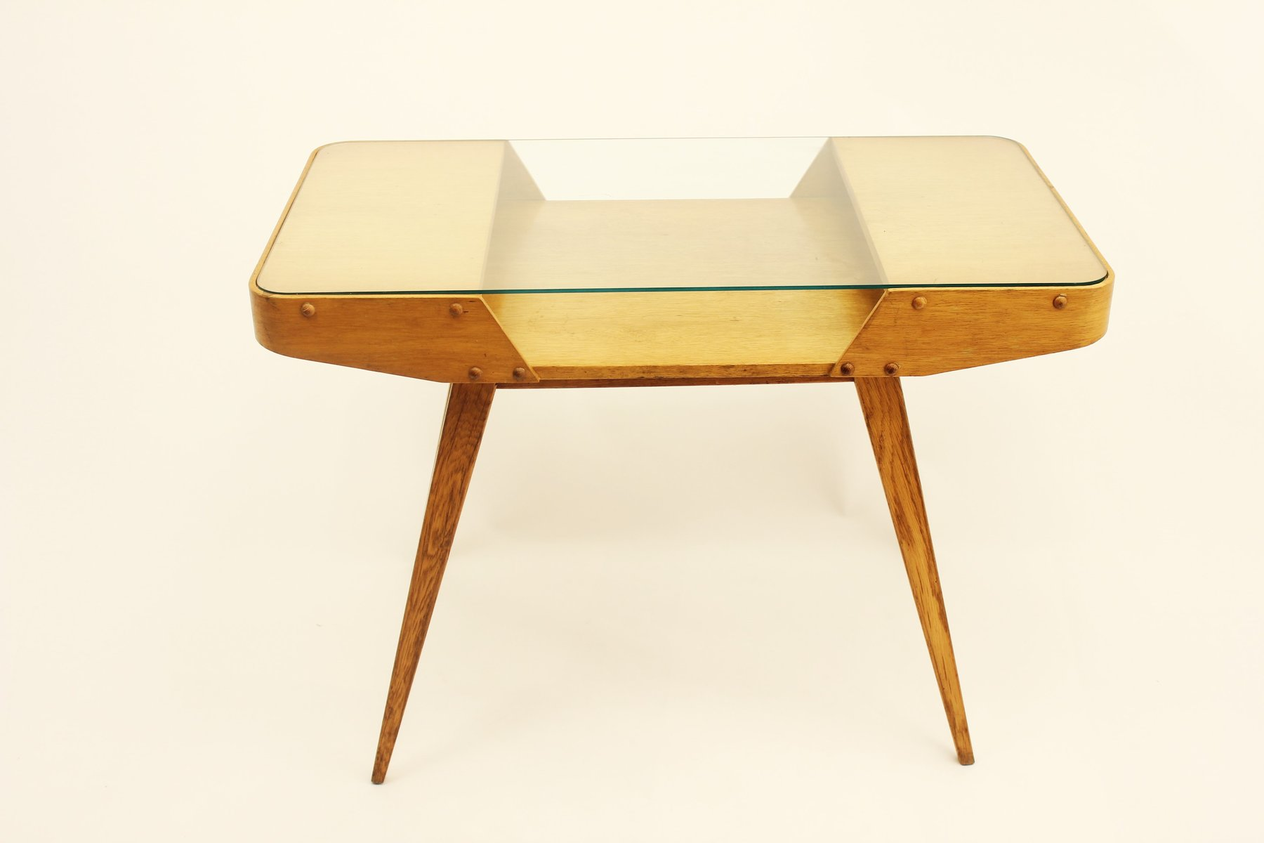Vintage Czechoslovakian Oak Coffee Table With Glass Top