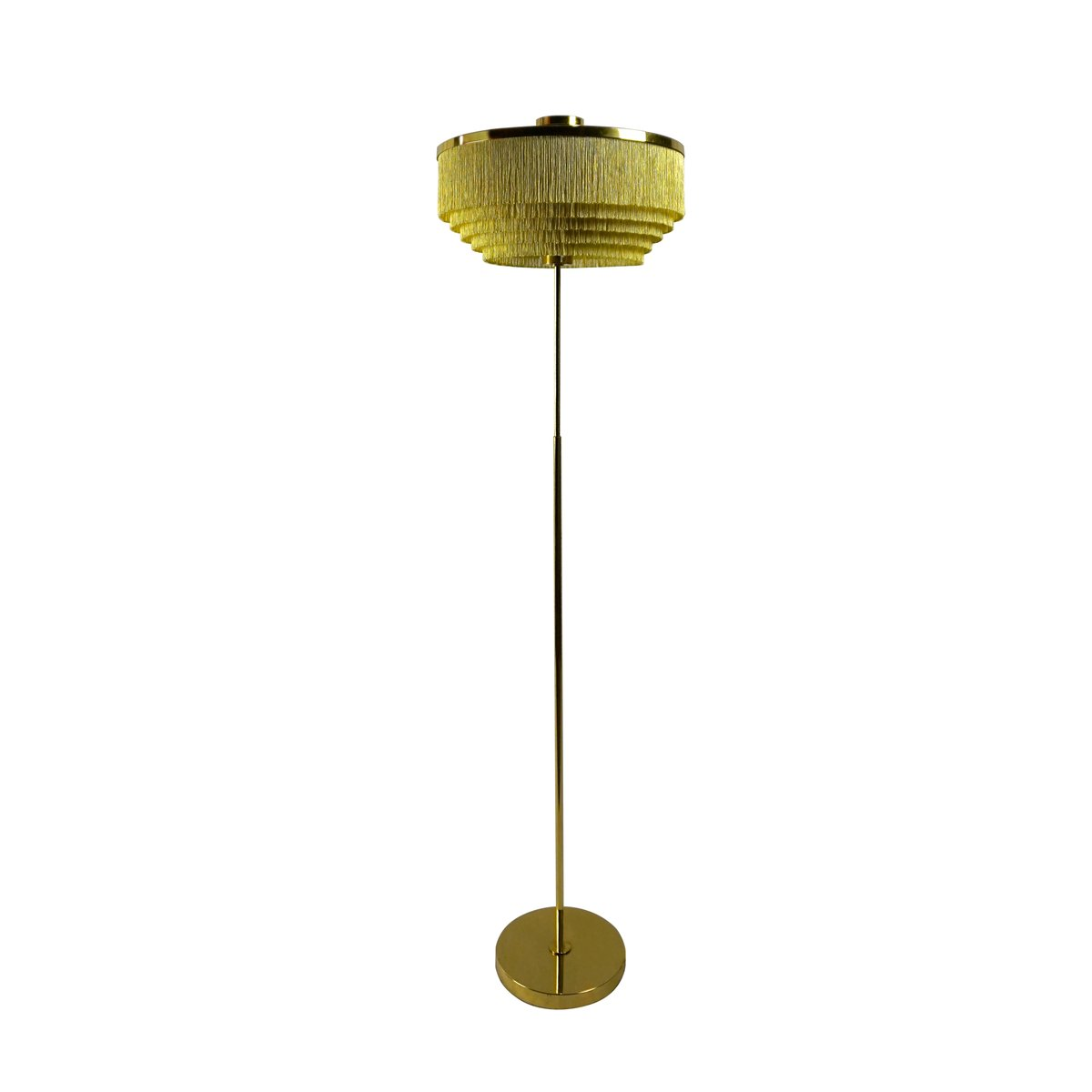 vintage model g110 silk fringe brass floor lamp by hansagne jakobsson