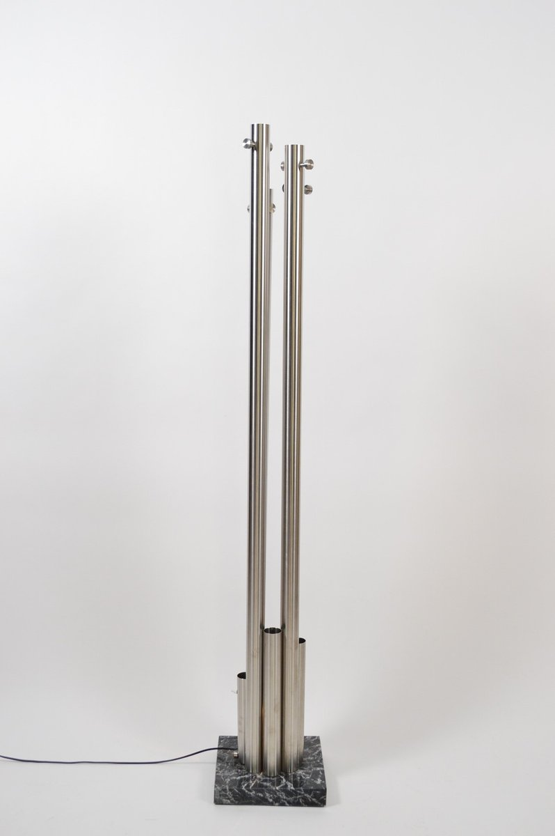 italian stainless steel and marble coat rack with integrated light  - italian stainless steel and marble coat rack with integrated light s
