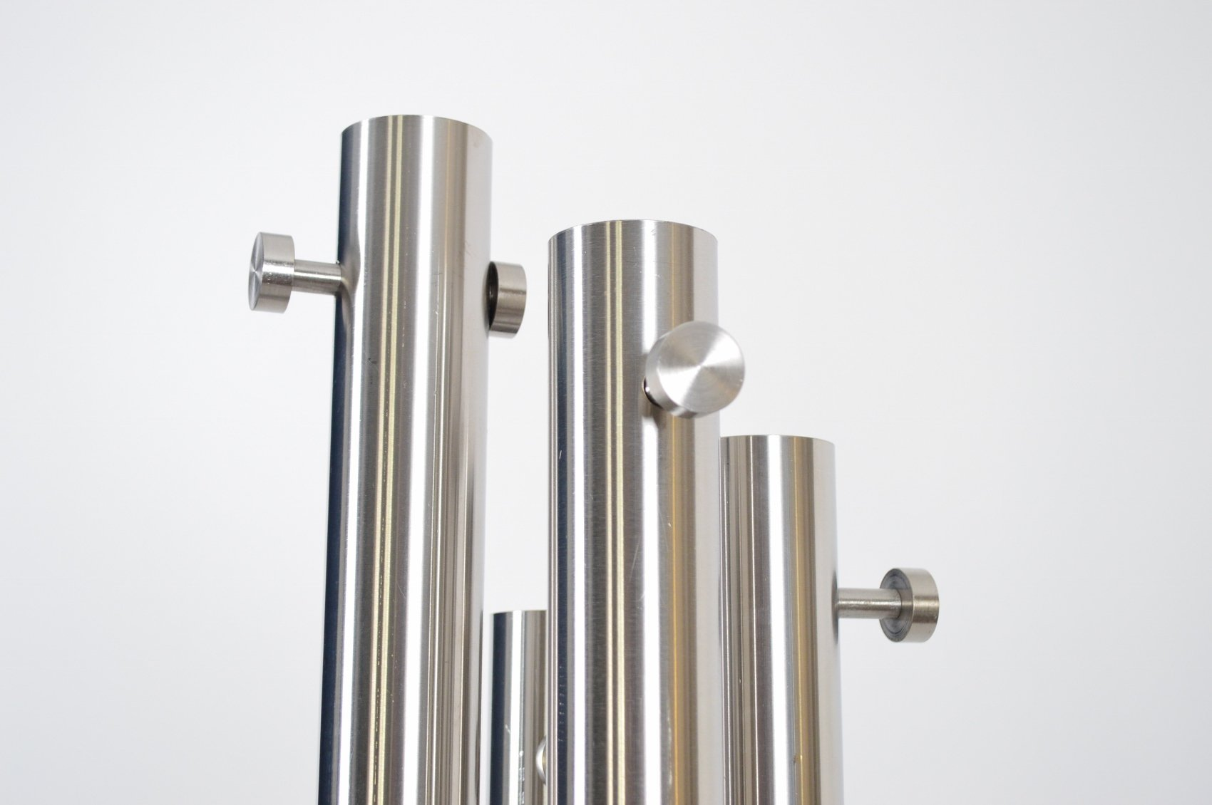 italian stainless steel and marble coat rack with integrated light  - price per piece