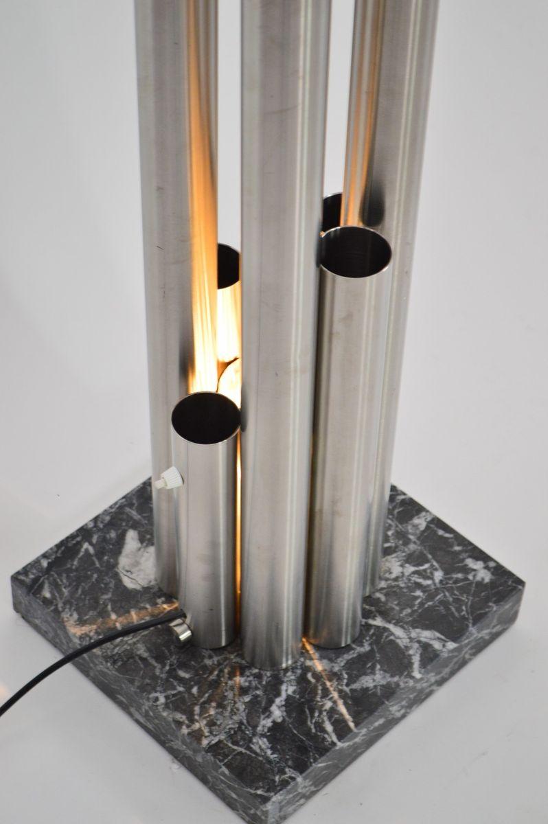 italienischer garderobenst nder aus edelstahl auf marmorsockel mit integrierter lampe 1980er. Black Bedroom Furniture Sets. Home Design Ideas