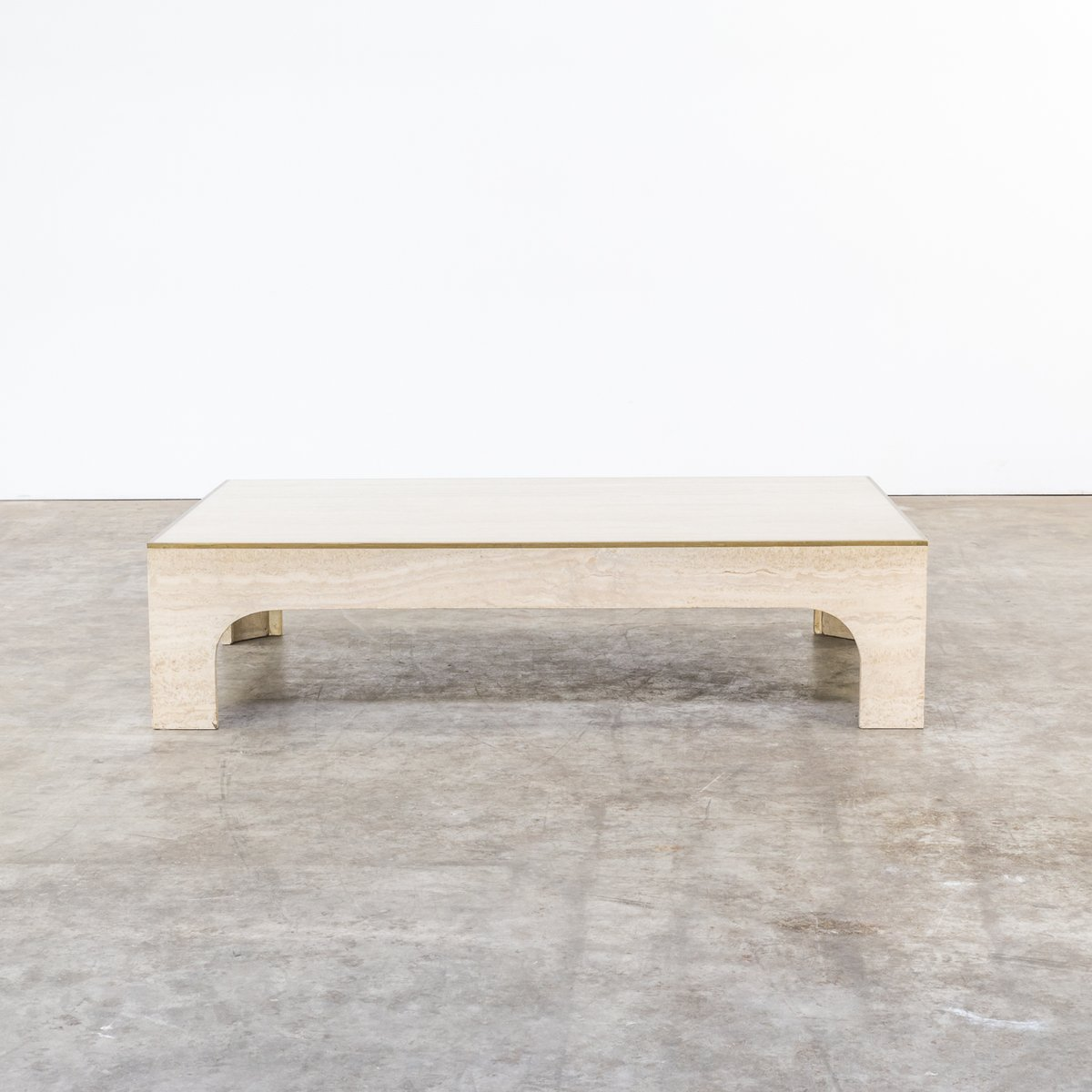 table basse en bronze et travertin par willy rizzo 1970s. Black Bedroom Furniture Sets. Home Design Ideas
