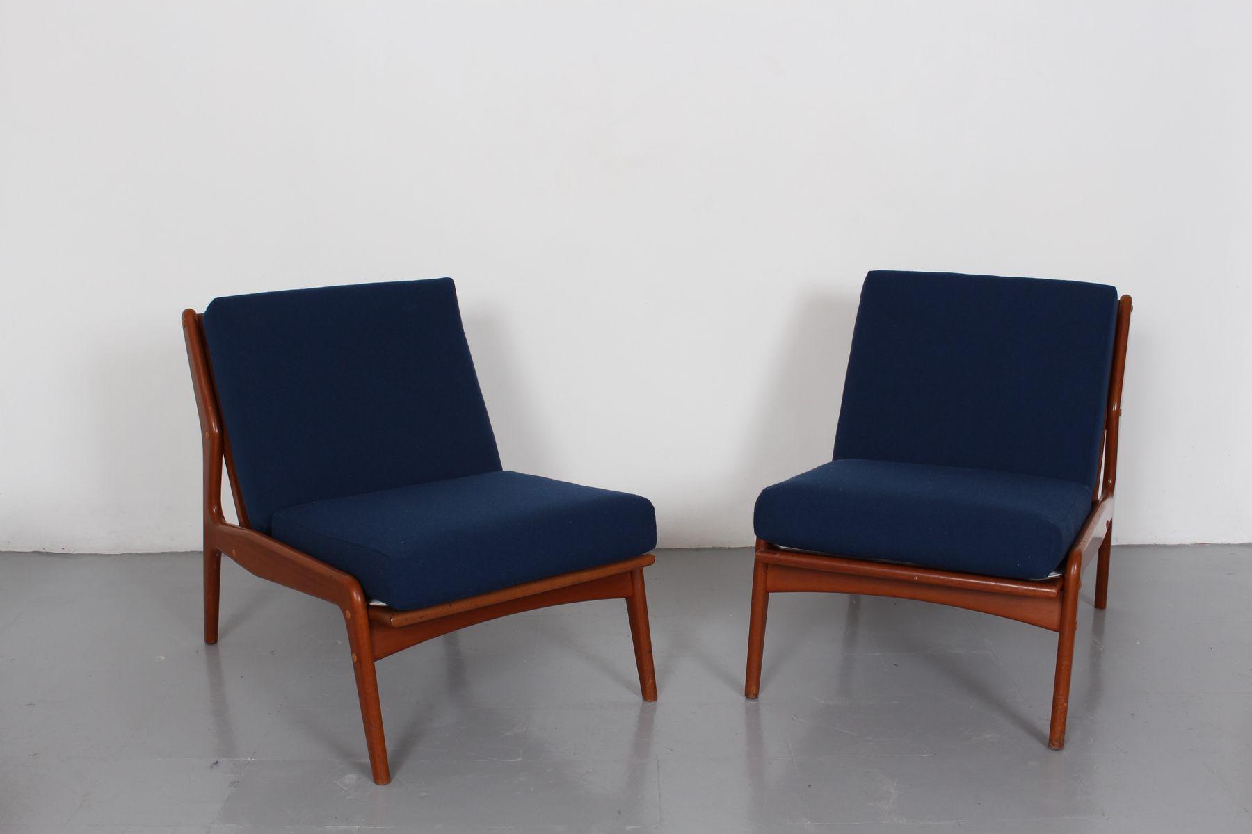 niedrige d nische vintage teak sessel mit blauem stoff 2er set bei pamono kaufen. Black Bedroom Furniture Sets. Home Design Ideas
