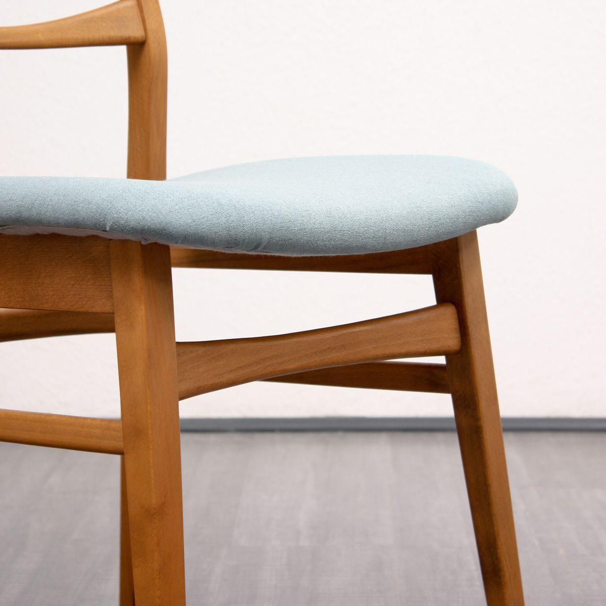 esszimmerst hle mit blauen bez gen 1960er 4er set bei. Black Bedroom Furniture Sets. Home Design Ideas