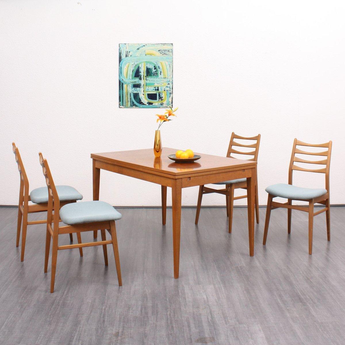 esszimmerst hle mit blauen bez gen 1960er 4er set bei pamono kaufen. Black Bedroom Furniture Sets. Home Design Ideas