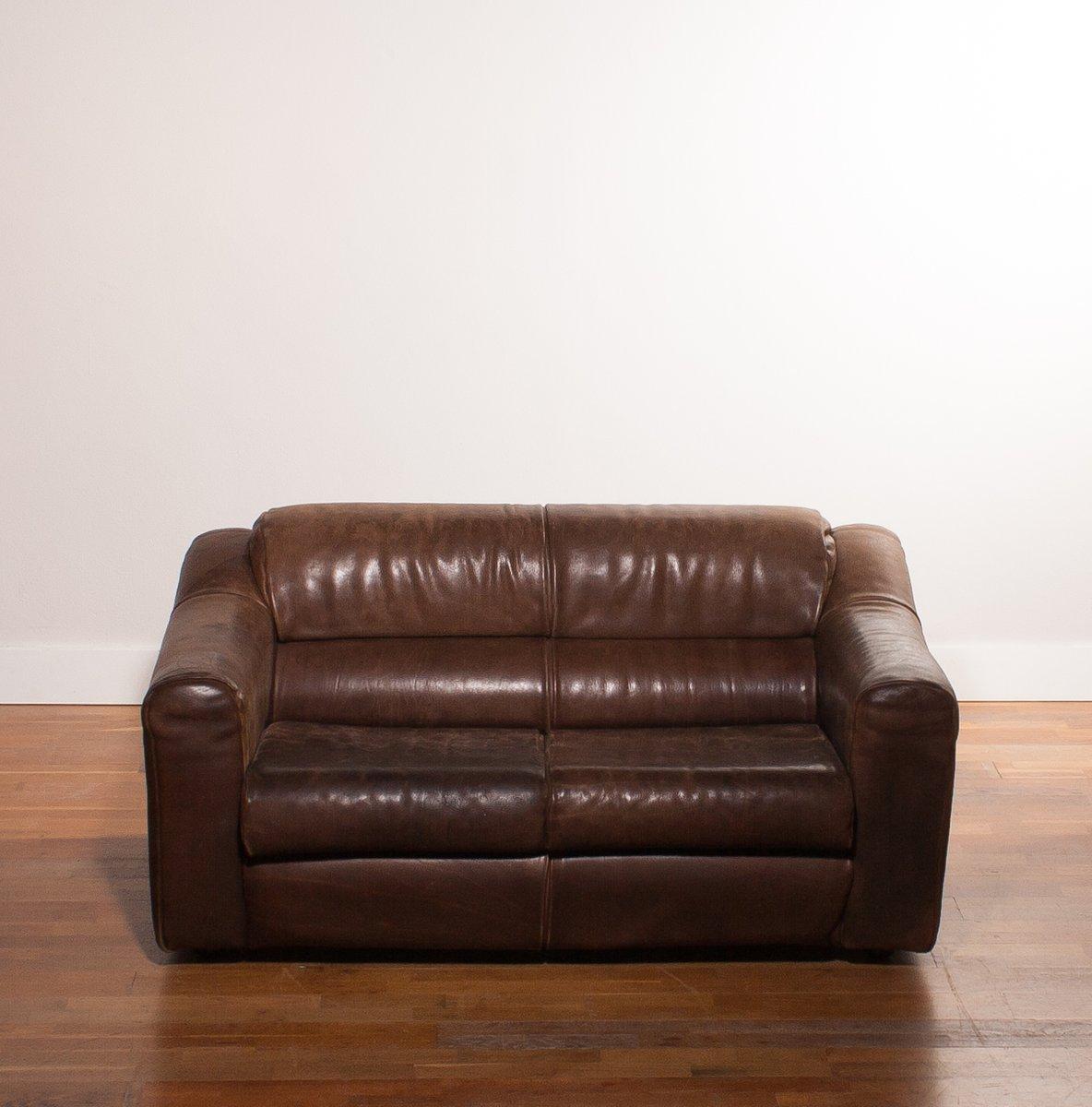 canap 2 places en cuir de buffle 1970s en vente sur pamono. Black Bedroom Furniture Sets. Home Design Ideas