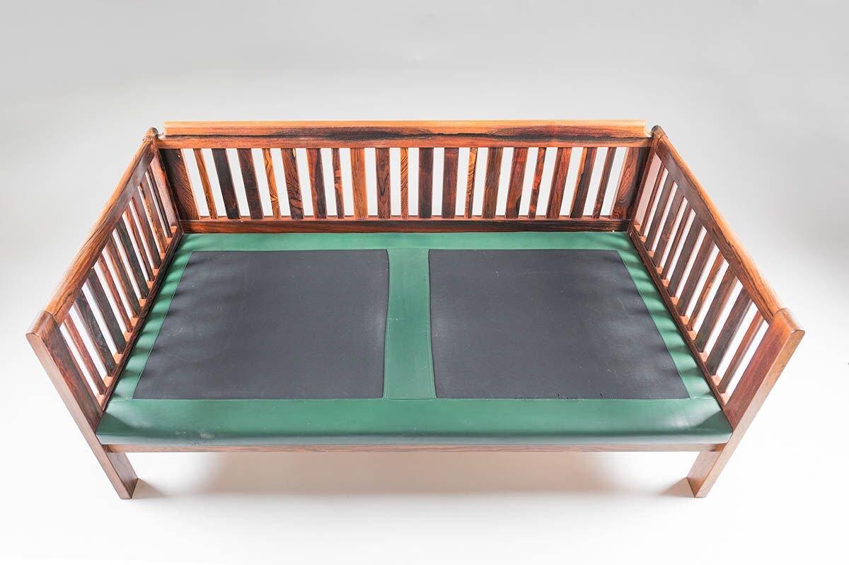 canap scandinave monte carlo en palissandre et cuir vert 1965 en vente sur pamono. Black Bedroom Furniture Sets. Home Design Ideas