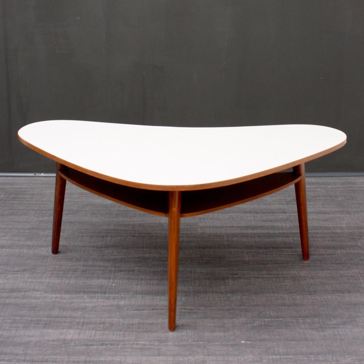 Grande table kidney en h tre avec rangement 1950s en - Table en hetre ...