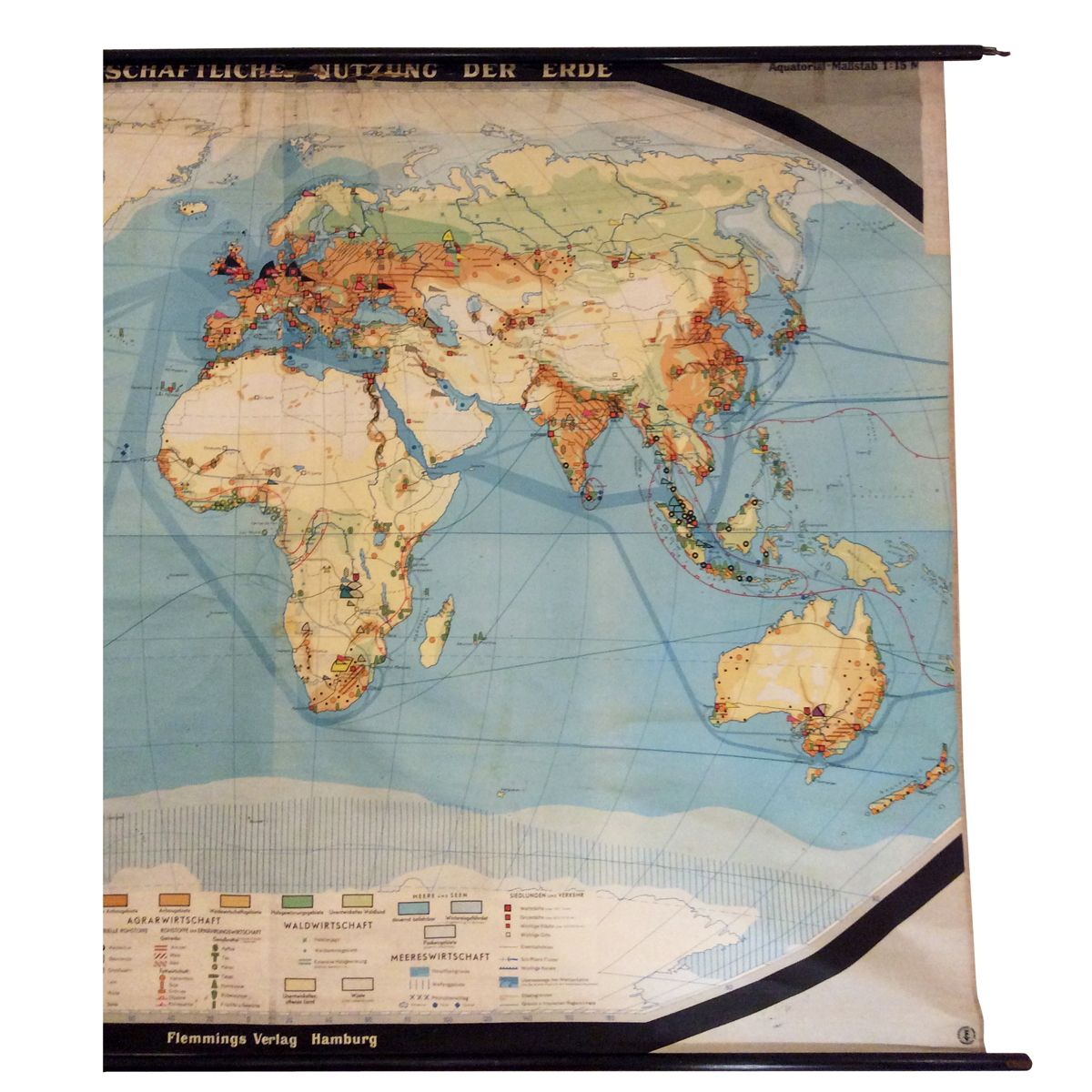 German Vintage Large Format World Map for sale at Pamono