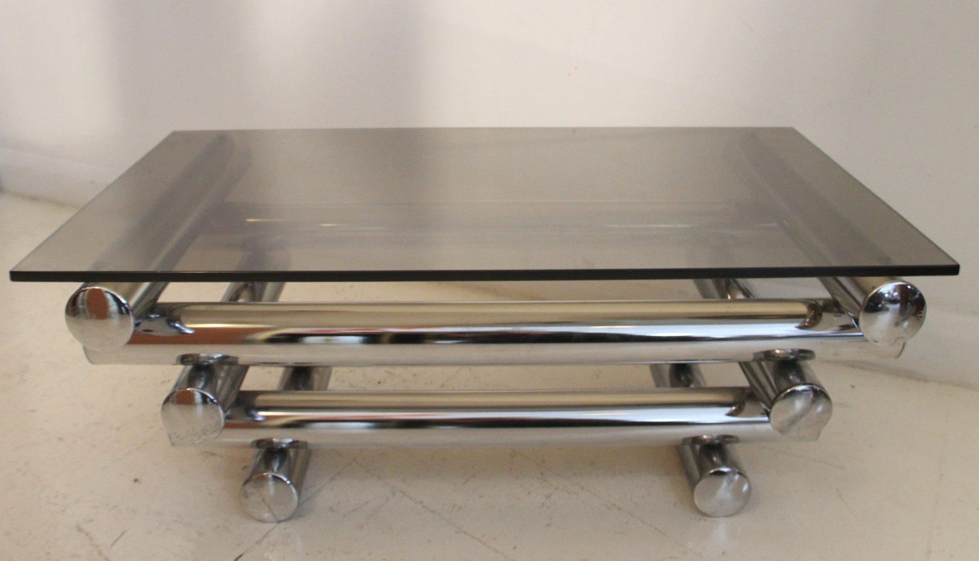 table basse empilable avec socle chrom france 1970s en. Black Bedroom Furniture Sets. Home Design Ideas