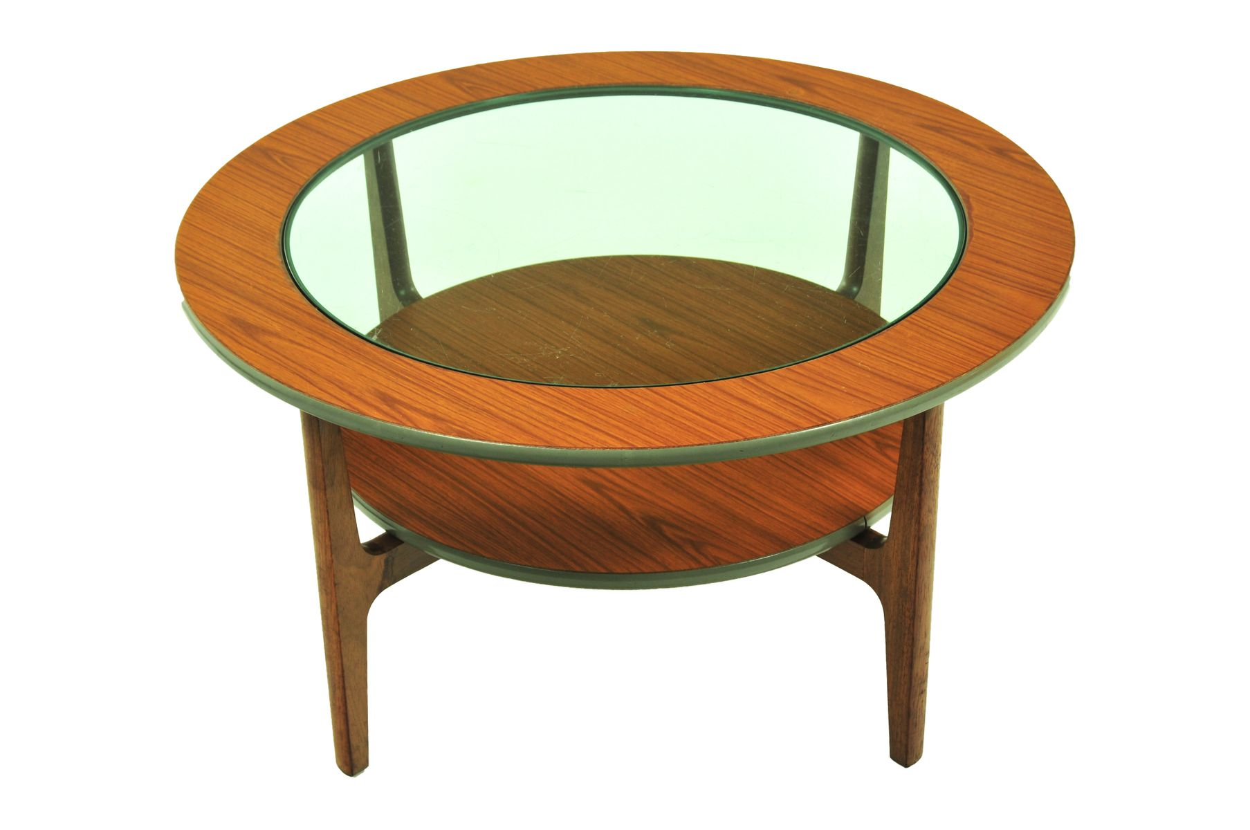 table basse vintage ronde avec plateau en verre 1960s en. Black Bedroom Furniture Sets. Home Design Ideas