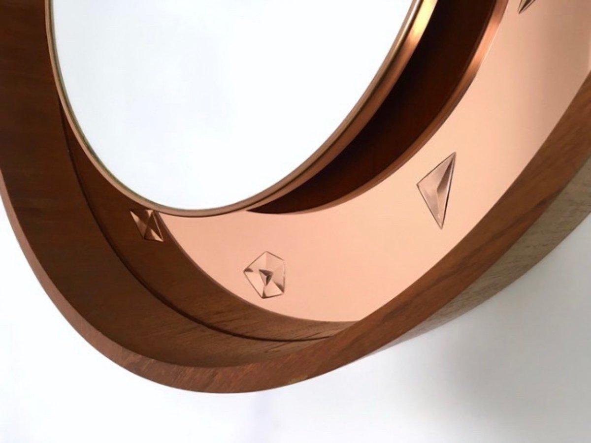 This italian circular wooden wall mirror is no longer available - Vintage Italian Illuminated Wall Mirror