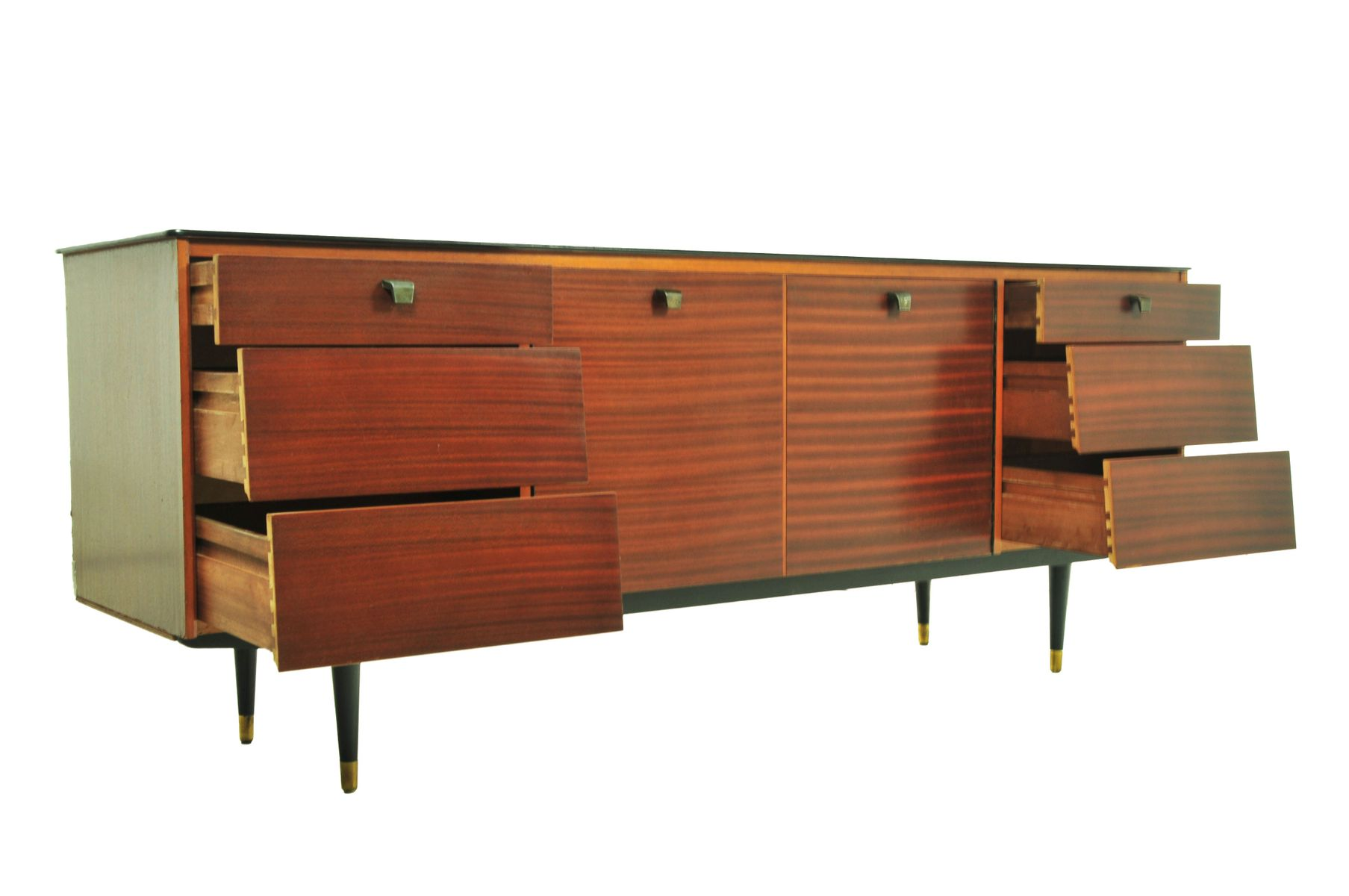 teak sideboard mit zwei t ren 1950er bei pamono kaufen. Black Bedroom Furniture Sets. Home Design Ideas