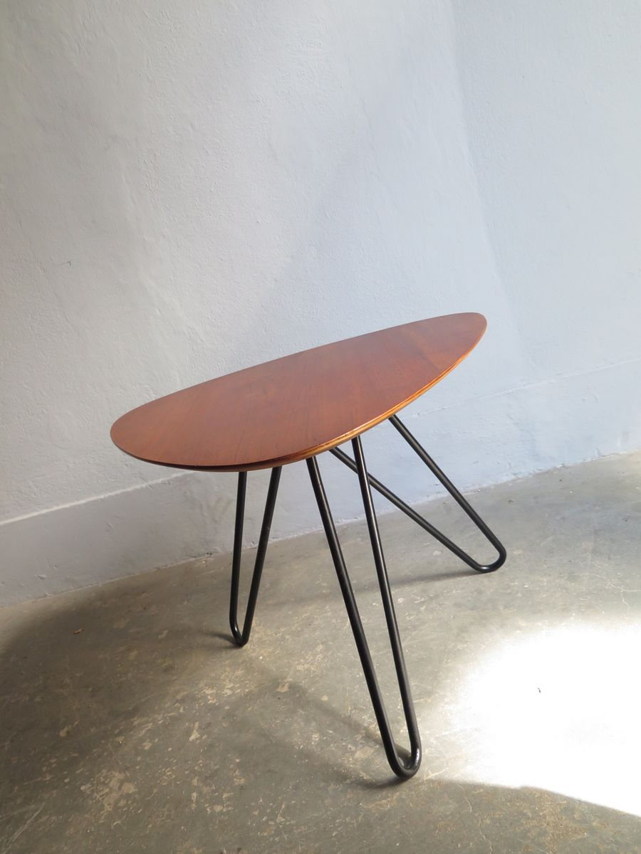 Vintage side table with a tripod metal base for sale at pamono for Side table base