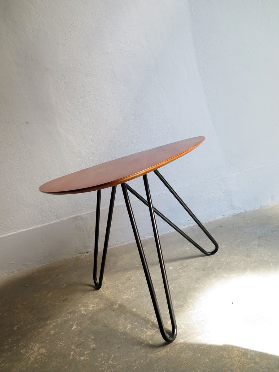 Vintage Side Table with a Tripod Metal Base for sale at Pamono