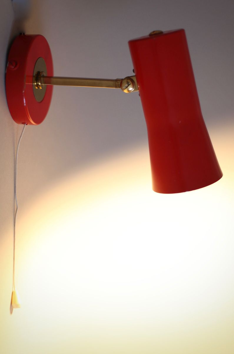 Wall Light in Red, 1950s for sale at Pamono