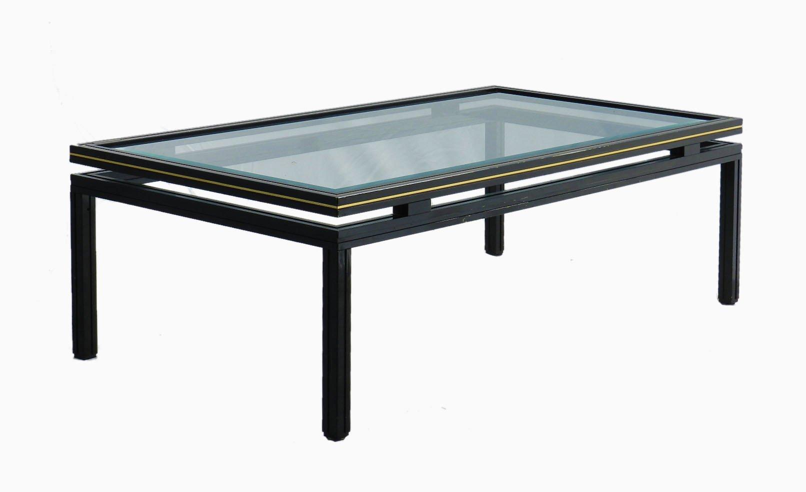 table basse vintage en laiton chrome par pierre vandel en vente sur pamono. Black Bedroom Furniture Sets. Home Design Ideas