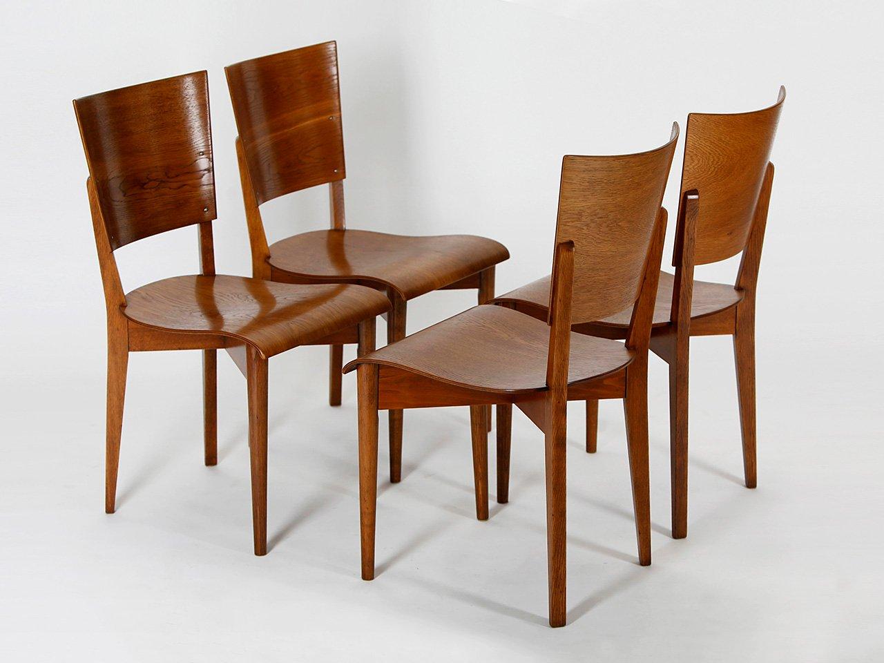 chaises de salle manger model h 59 par jindrich halabala pour up zavody 1930s set de 4 en. Black Bedroom Furniture Sets. Home Design Ideas