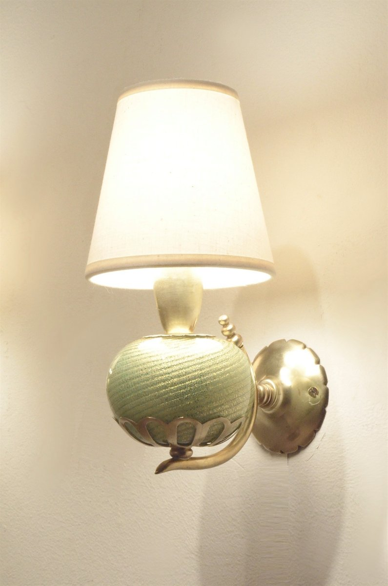 Murano Glass & Brass Wall Sconces Lamps by Barovier & Toso, 1930s, Set of 2 for sale at Pamono