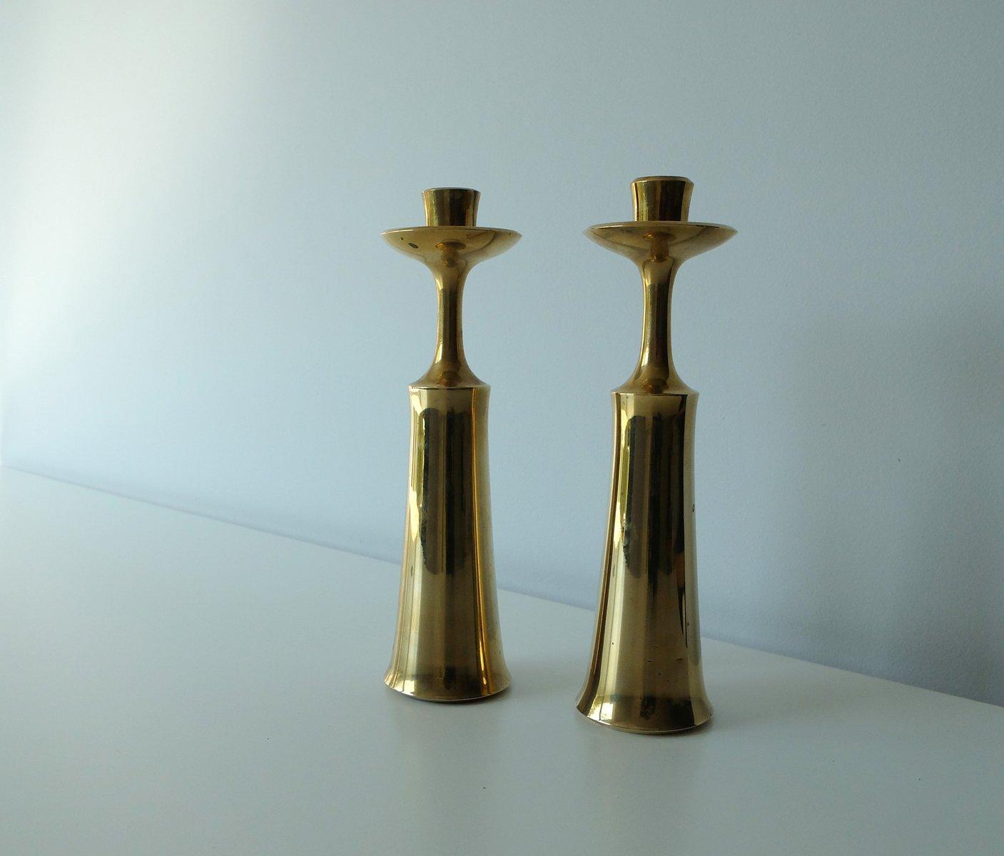 Brass Candlesticks vintage scandinavian brass candlesticksjens harald quistgaard