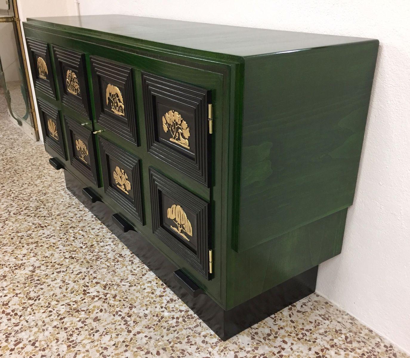franz sisches art deco sideboard in gr n schwarz 1930er bei pamono kaufen. Black Bedroom Furniture Sets. Home Design Ideas