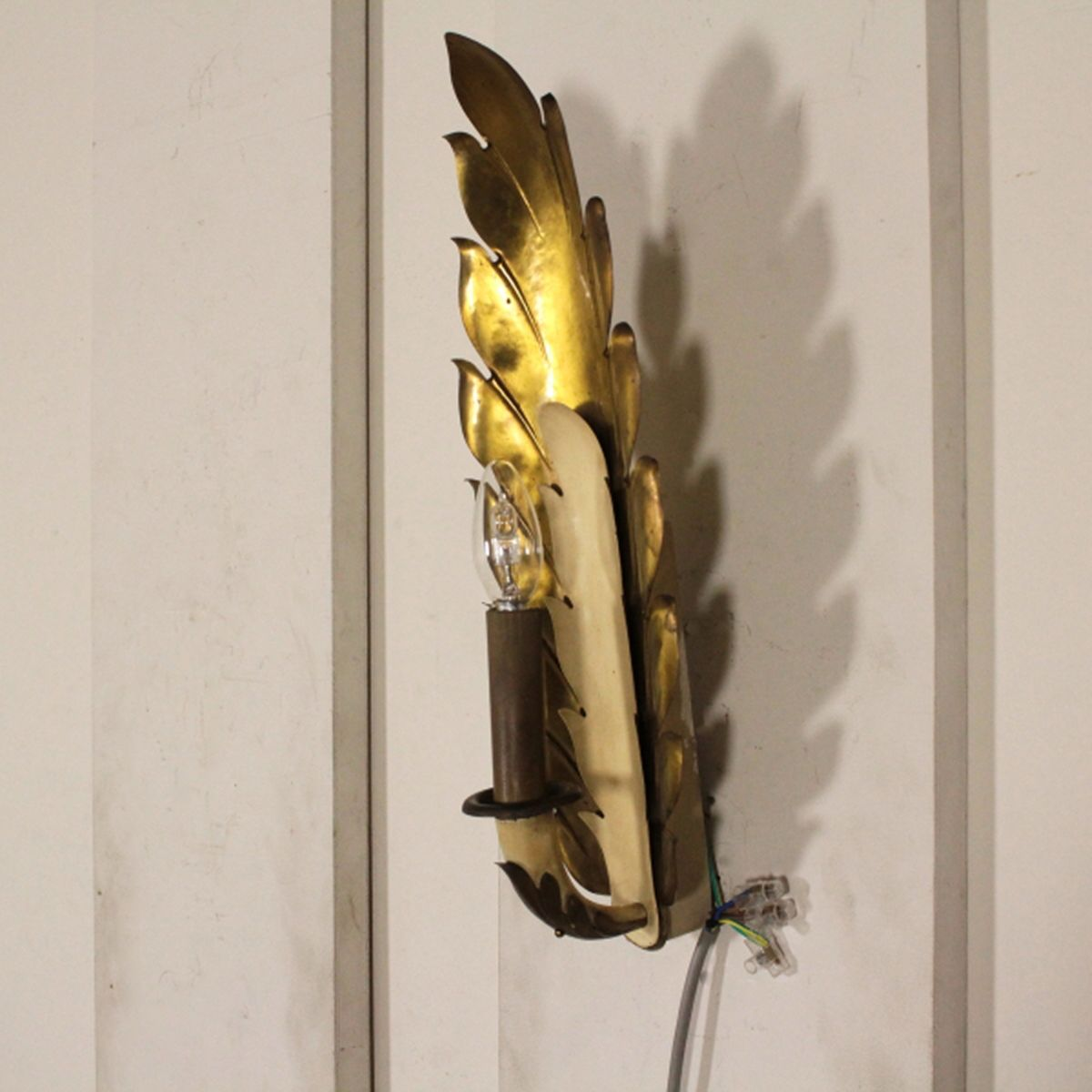 Italian Wood Brass Amp Lacquered Aluminum Wall Lamps 1940s