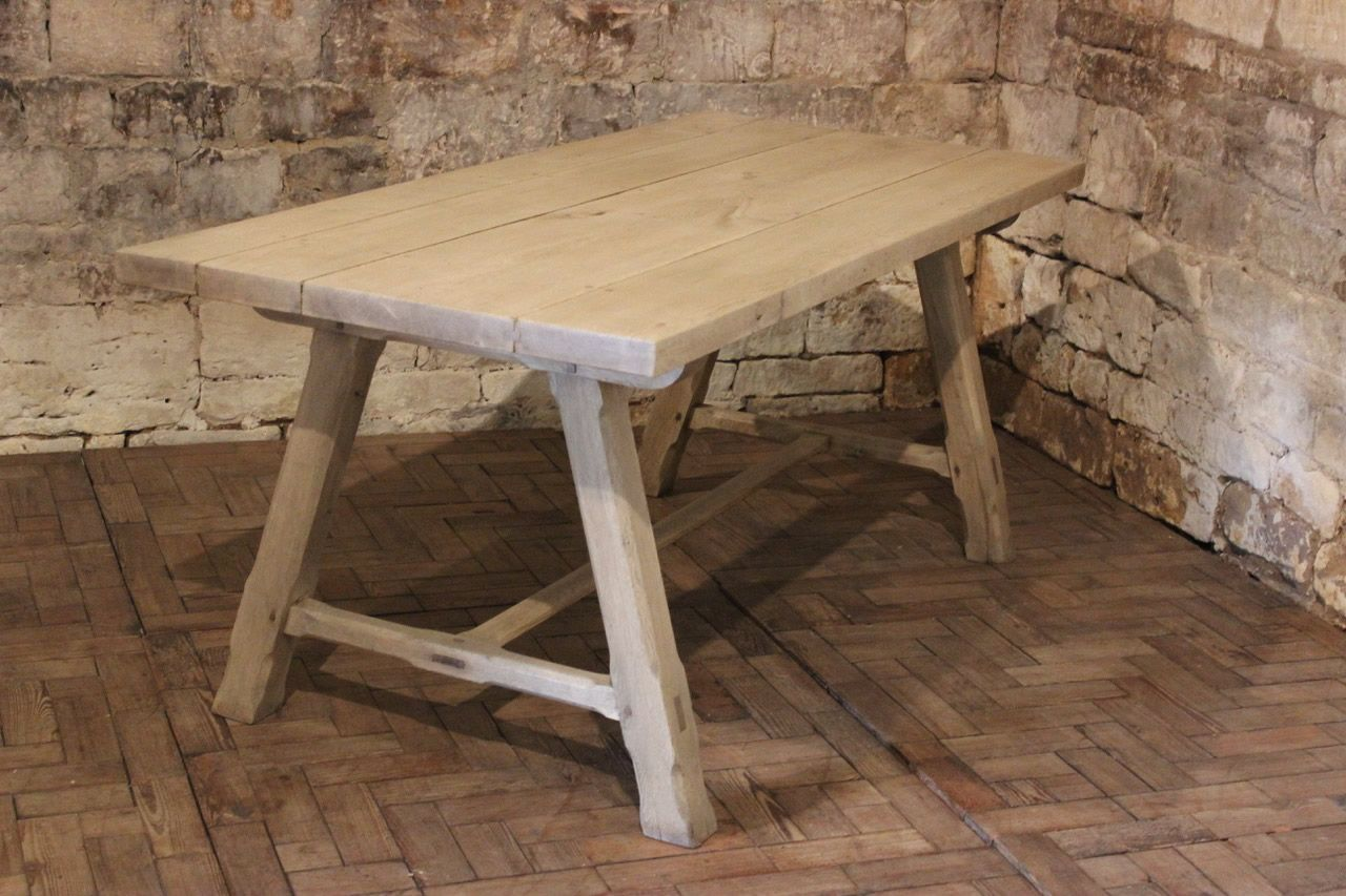 Antique French Bleached Oak Dining Table for sale at Pamono