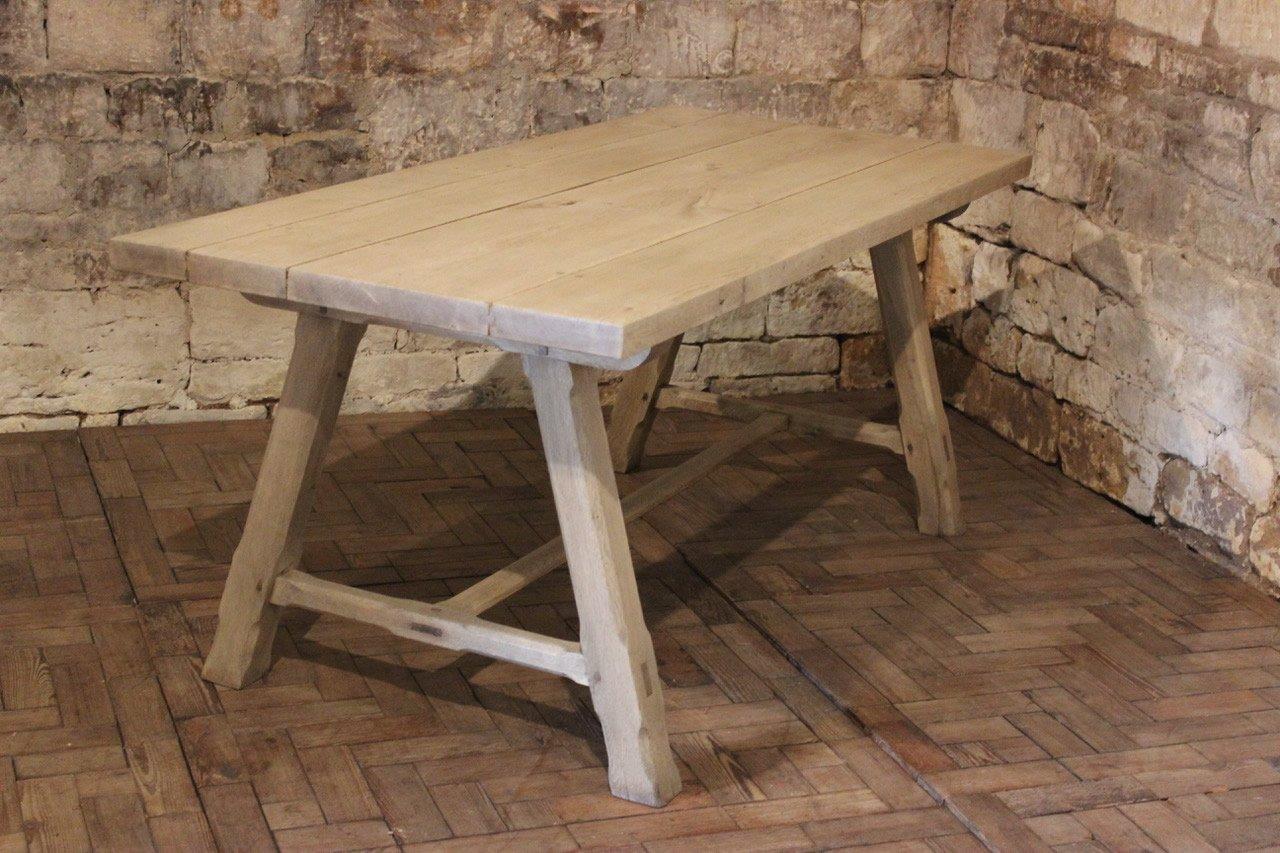 Tavolo Da Pranzo Antico In Rovere Sbiancato Francia In Vendita Su Pamono