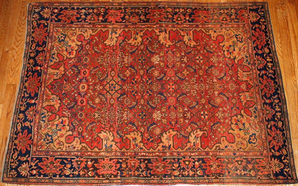 Antiker Persischer Handgeknüpfter Sarouk Farahan Teppich