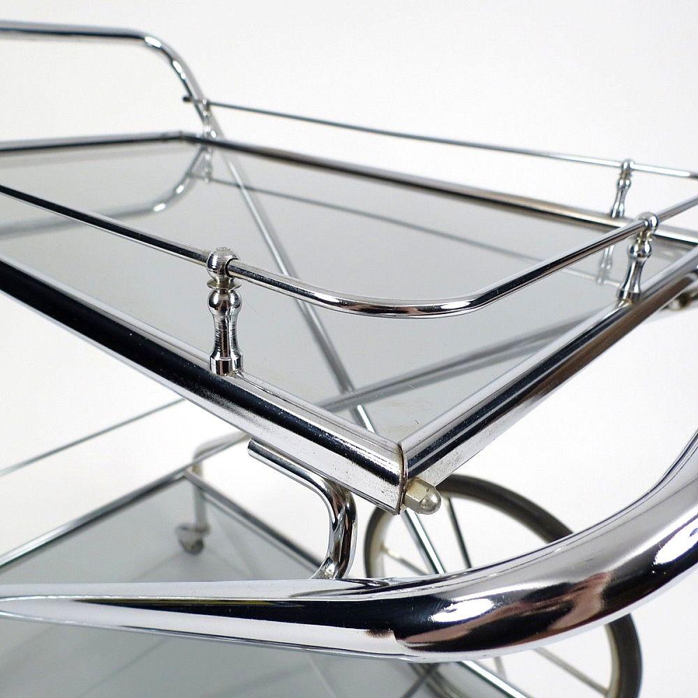 zusammenklappbarer vintage servierwagen aus verchromten metall und glas bei pamono kaufen. Black Bedroom Furniture Sets. Home Design Ideas