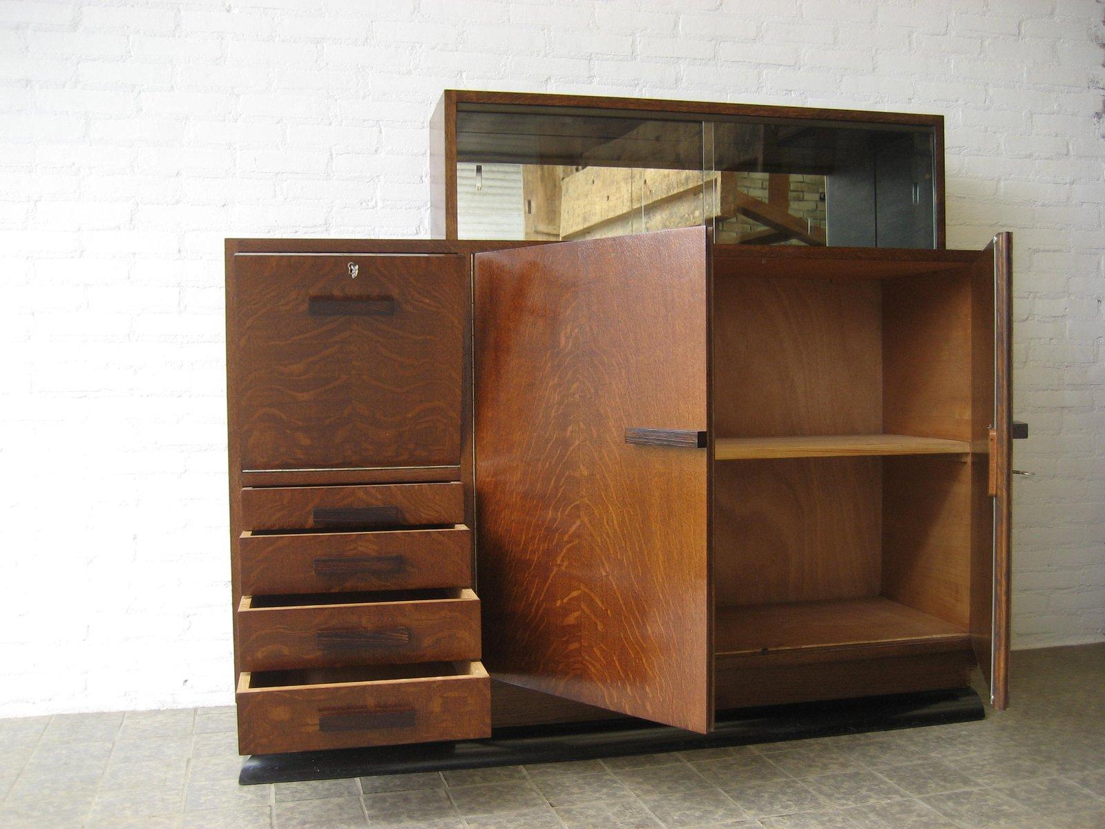 art deco eckschrank mit schiebet ren aus glas bei pamono kaufen. Black Bedroom Furniture Sets. Home Design Ideas