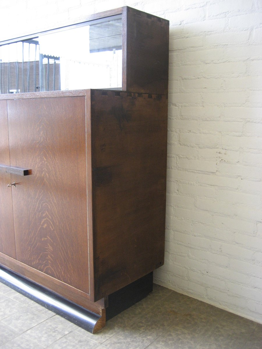 Art deco corner cabinet with sliding glass doors for sale for Corner sliding glass doors