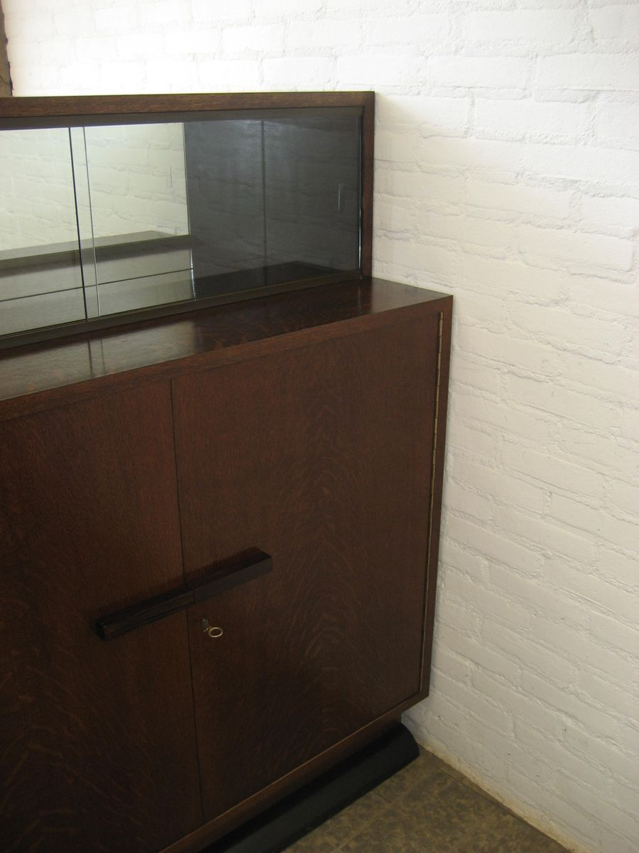 Art Deco Corner Cabinet With Sliding Glass Doors For Sale