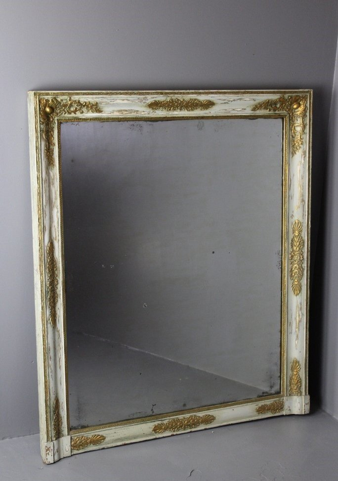 Antique large french over mantle mirror for sale at pamono for Mantle mirror
