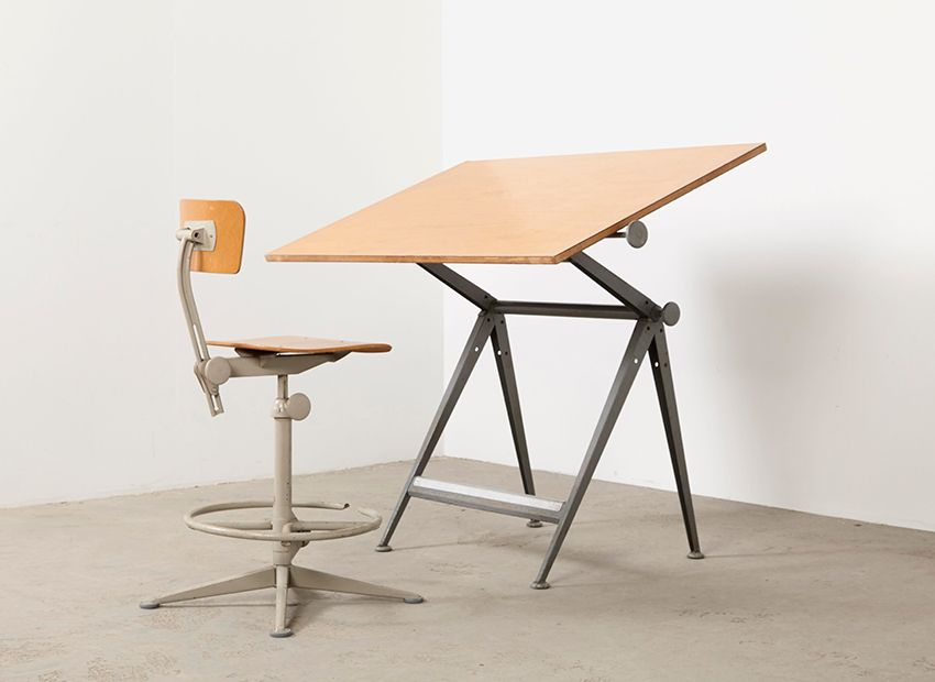 vintage drafting table chair by wim rietveld friso kramer for ahrend de cirkel for sale at