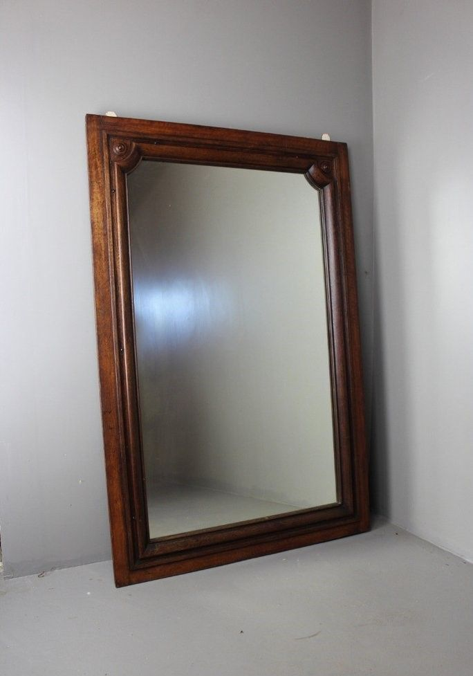 Grand miroir mural antique en acajou en vente sur pamono for Miroir mural grand