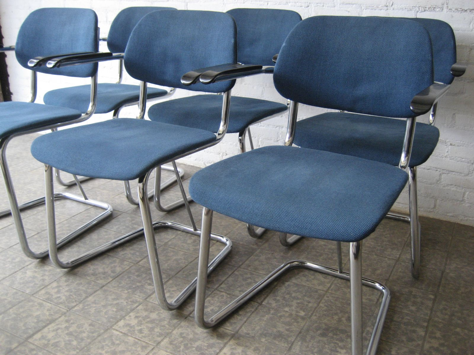 6 vintage tube chairs upholstered in blue fabricï ¿ for sale at Pamono