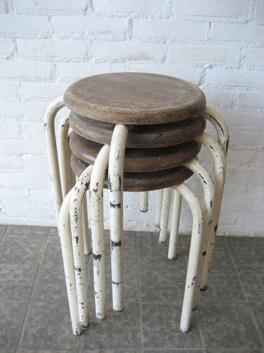 industrial metal stool with wooden seat for sale at pamono. Black Bedroom Furniture Sets. Home Design Ideas