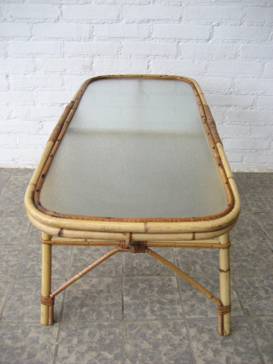 Vintage rattan beistelltisch mit glasplatte bei pamono kaufen for Beistelltisch vintage