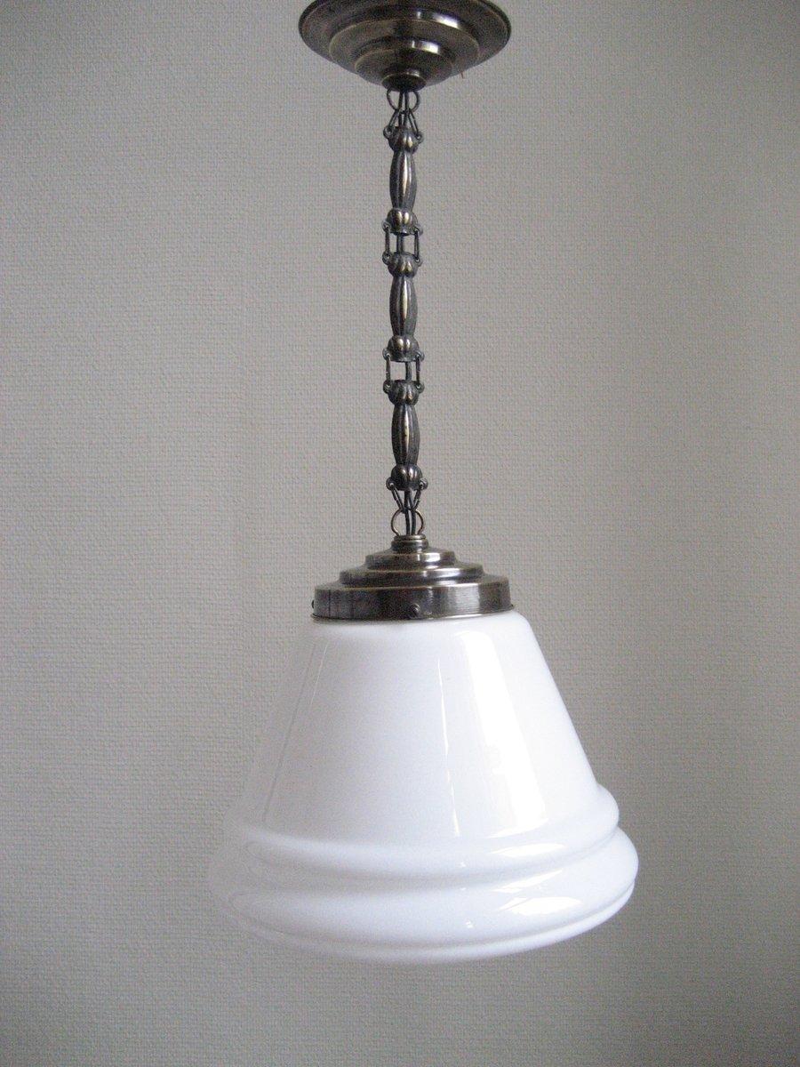 lampe suspension art d co avec abat jour en verre stri blanc en vente sur pamono. Black Bedroom Furniture Sets. Home Design Ideas