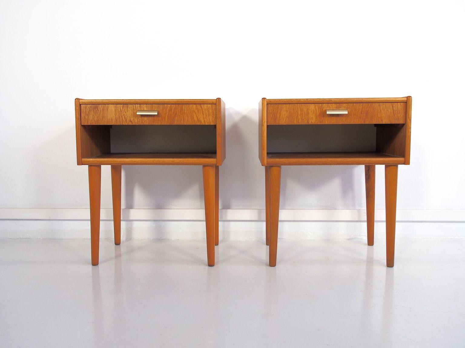 skandinavische moderne vintage teak nachttische 2er set. Black Bedroom Furniture Sets. Home Design Ideas