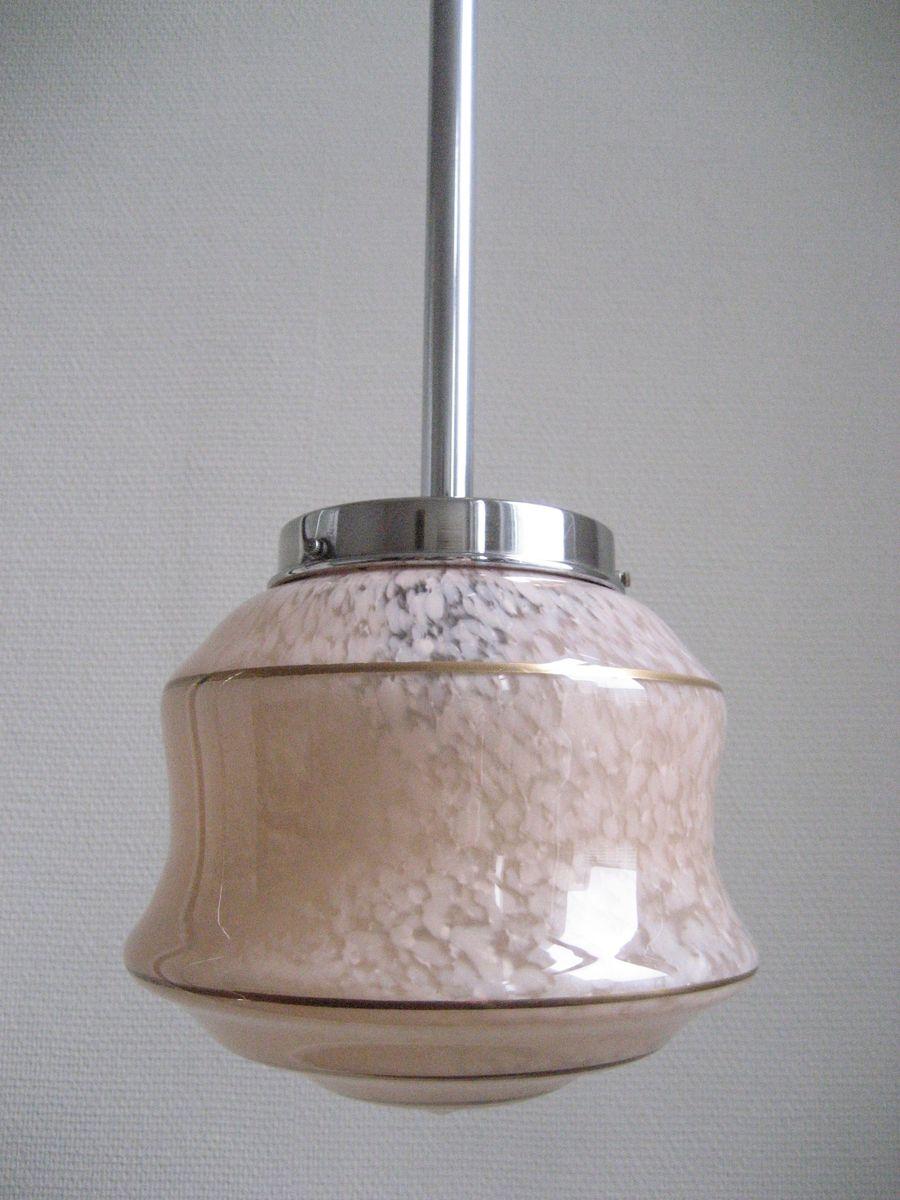art deco h ngelampe mit rosa schirm aus kristall bei. Black Bedroom Furniture Sets. Home Design Ideas