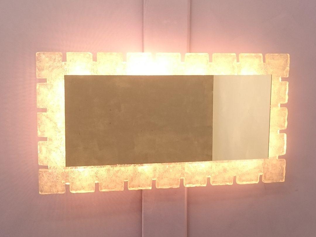 Miroir illumin en r sine m tal de kalmar 1960s en for Miroir en solde