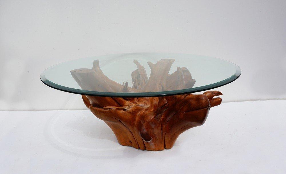 mid century teak tree root coffee table with beveled glass With root coffee table with glass top